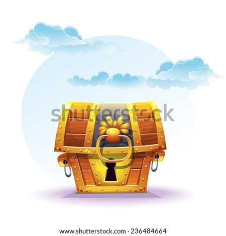Illustration of treasure chest on a background of clouds - stock vector