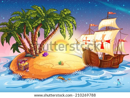 Illustration of Treasure Island with the ship caravel - stock vector