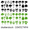Illustration of tree silhouettes on white - stock photo