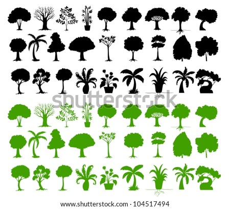 Illustration of tree silhouettes on white - stock vector