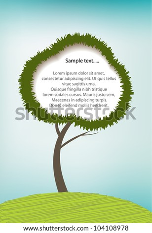 Illustration of tree with copy space, eps10 vector - stock vector