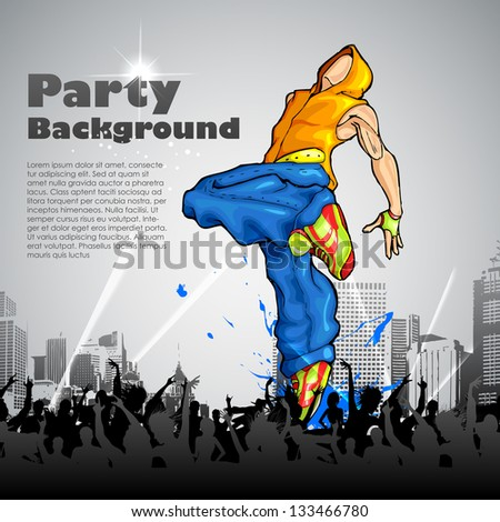 illustration of trendy guy in dancing pose on abstract background - stock vector