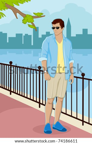 illustration of trendy guy standing on street with city scape on background - stock vector