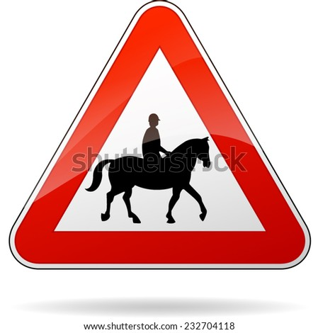illustration of triangular isolated sign for horse - stock vector