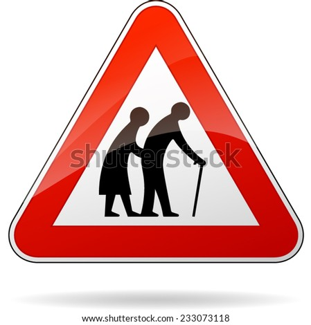 illustration of triangular warning sign for pedestrians - stock vector