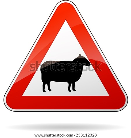 illustration of triangular warning sign for sheep - stock vector