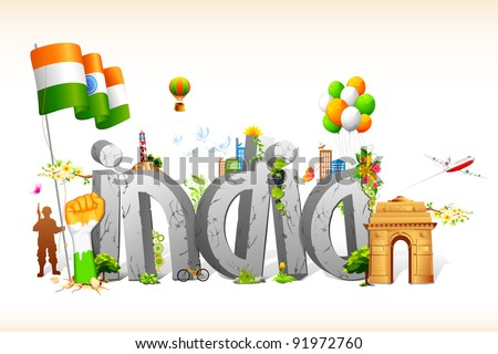 illustration of tricolor balloon with Indian flag and monument - stock vector