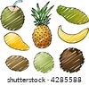 Illustration of tropical fruits, hand-drawn look rough sketchy coloring - stock vector