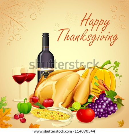 illustration of turkey, fruits and wine in Thanksgiving dinner - stock vector