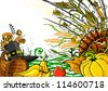 illustration of turkey, fruits and wine in Thanksgiving doodle - stock photo