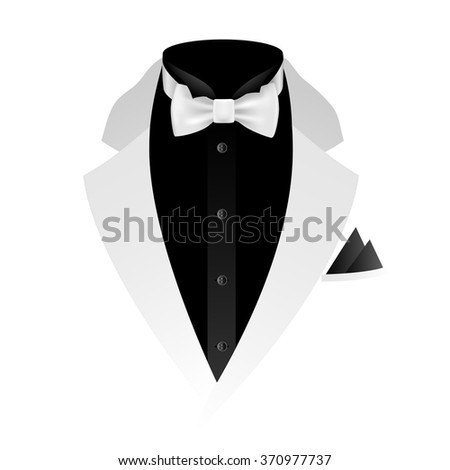 Illustration of tuxedo with bow tie on white background. Vector EPS10.