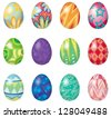 Illustration of twelve easter eggs on a white background - stock vector