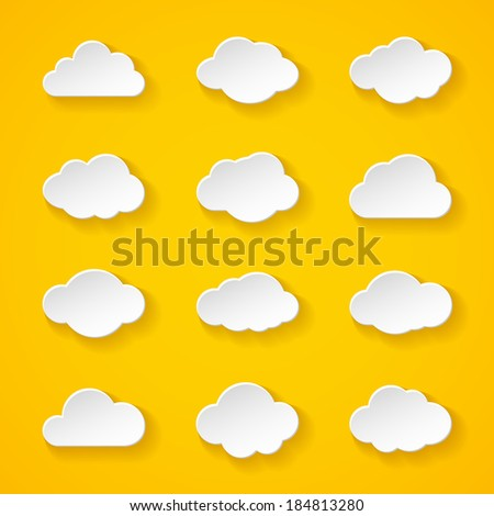 Illustration of twelve white paper clouds with different shapes and shadow on bright yellow background - stock vector