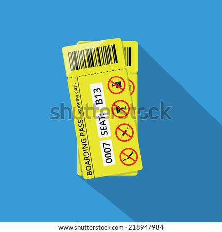 Illustration of two boarding passes to airplane, economy class.  - stock vector