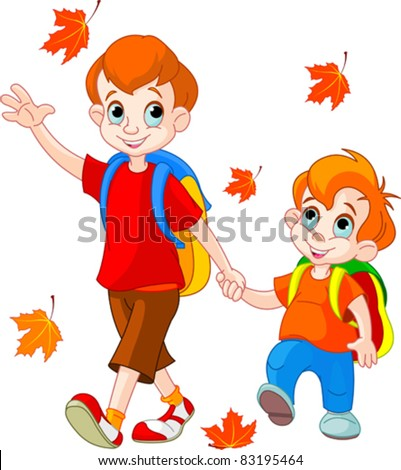 illustration of two boys go to school - Cartoon Image Of Children