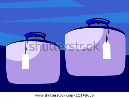 Illustration of two briefcases with tags - stock vector