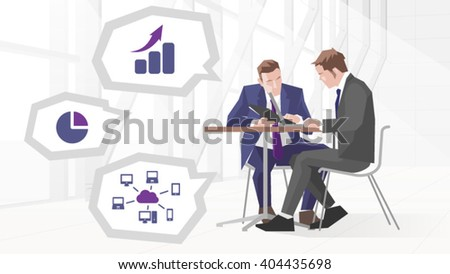 Illustration Of Two Businessmen In Meeting Using Laptop - stock vector