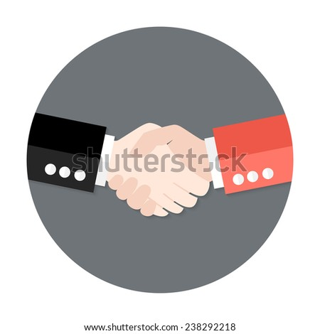 Illustration of Two Businessmen Partnership Flat Circle Icon - stock vector