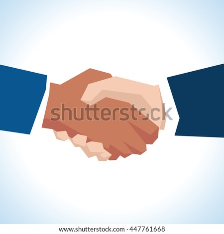Illustration Of Two Businessmen Shaking Hands In Close Up