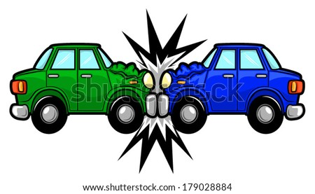 Illustration of two cars involved in a car wreck/Vector Car Accident Cartoon - stock vector