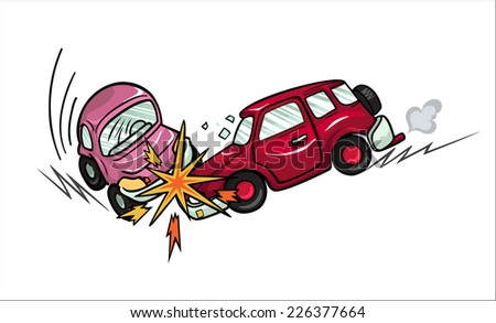 Illustration of two cartoon cars involved in a car wreck. Isolated on white background.  - stock vector