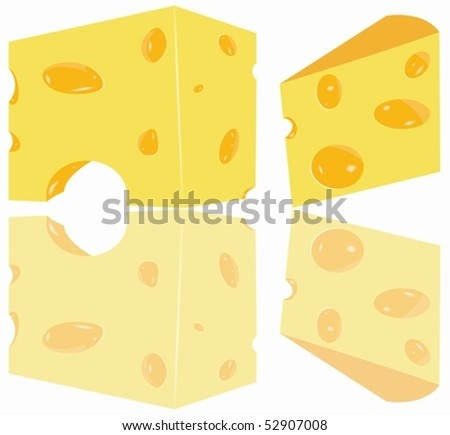 Illustration of two cheese pieces with the reflexion