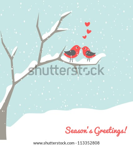 Illustration of two cute birds in love at winter time. - stock vector