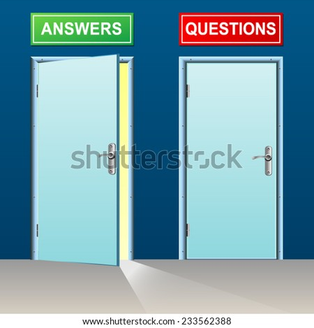 illustration of two doors for answers and questions
