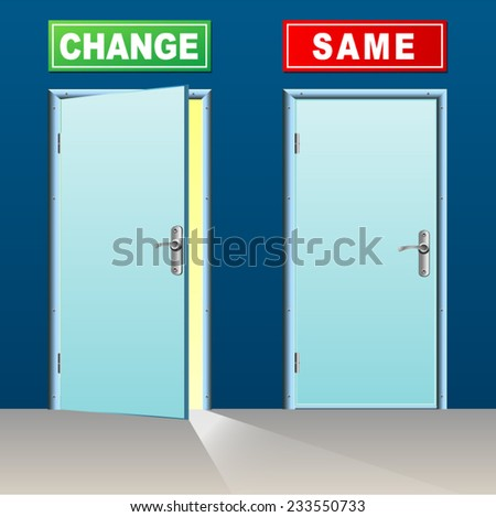 illustration of two doors for change and same