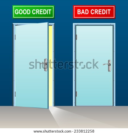 illustration of two doors for good and bad credit