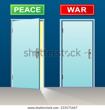 illustration of two doors for peace and war