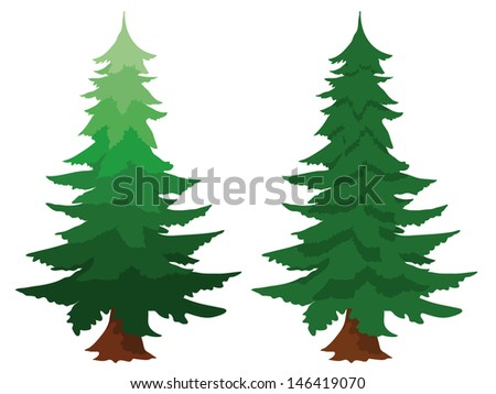 Illustration of two evergreen fir trees, one with a gradient colour, isolated on white conceptual of forests, forestry, timber, nature and natural sustainable resources - stock vector