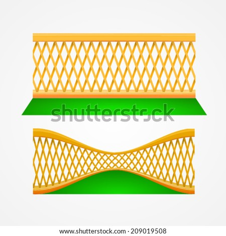 Illustration of two garden trellis. Two wooden gardening fences on grass - front view and view in perspective. Isolated vector illustrations on white. - stock vector
