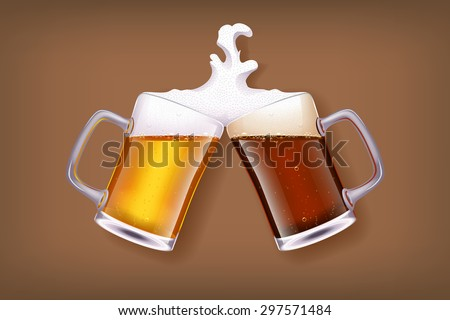 illustration of two glasses of white and dark beer smashes each other - stock vector