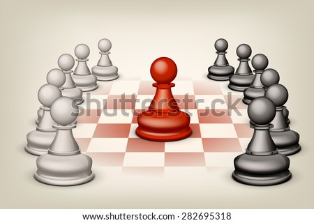 illustration of two groups white and black pawns and single red pawn - stock vector