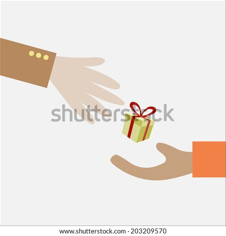 Illustration of Two Hands Exchanging a Gift - stock vector
