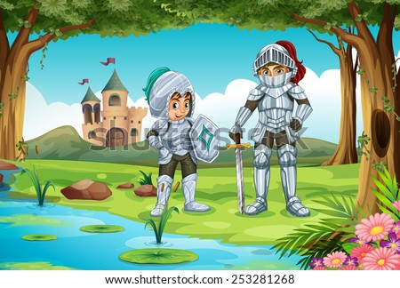 Illustration of two knights standing in a forest  - stock vector