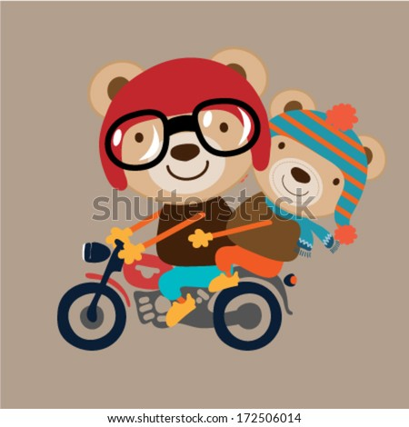 illustration of two little animal riding on motorcycle. Vector illustration