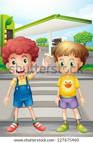 Illustration of two little boys near the gasoline station - stock vector