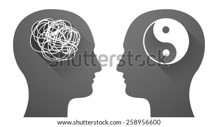 Illustration of two men heads with a doodle and a ying yang - stock vector