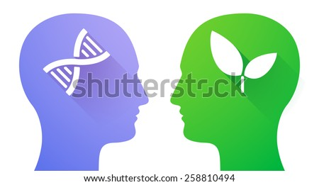 Illustration of two men heads with dna sign and aplant - stock vector