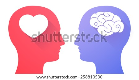 Illustration of two men heads with heart and a brain - stock vector