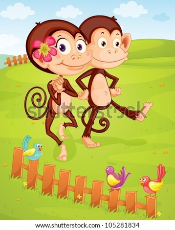 illustration of two monkeys walking on green lawn - stock vector