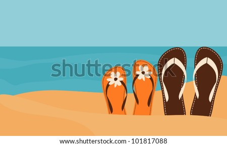 Illustration of two pairs of flip-flops on the beach with the sea in the background. - stock vector