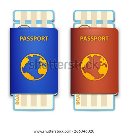 illustration of two passport red and blue with tickets on white - stock vector