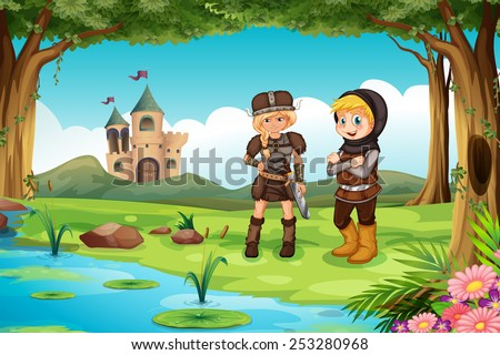 Illustration of two worriors standing in a forest - stock vector