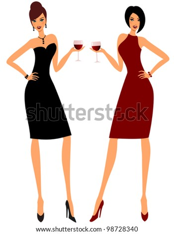 Illustration of two young attractive women holding glasses of red wine. - stock vector