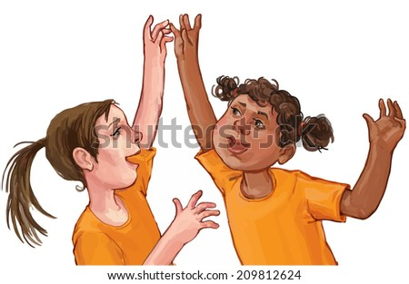 Illustration of two young girls from the same team on a white background. Children illustration for School books, magazines, advertising and more. Separate Objects. VECTOR - stock vector