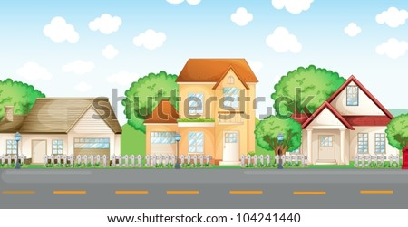 Illustration of typical urban street - stock vector