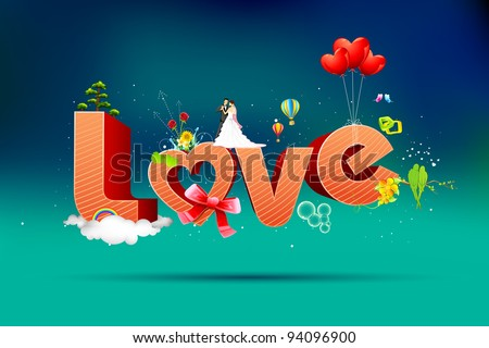 illustration of typography card of happy valentine with love text - stock vector